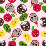 Seamless pattern with coconut, lime, apple, dragon fruit - vector illustration, eps royalty free illustration