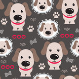 Seamless cute dog pattern vector illustration Royalty Free Stock Image