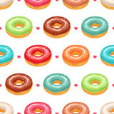 Seamless cute donuts and hearts Stock Photos