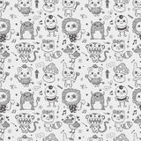 Seamless cute doodle monster pattern background Stock Photo