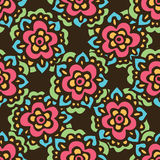 Seamless cute doodle Vector flower pattern Royalty Free Stock Image