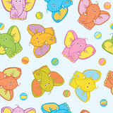 Seamless  of cute  elephants Stock Photos