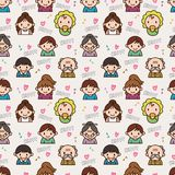 Seamless cute family pattern Stock Photos