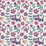 Seamless cute floral and animal pattern with cat, bird, flowers, plants, leaf, berry Royalty Free Stock Photo