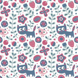 Seamless cute floral and animal pattern with cat, bird, flowers, plants, leaf, berry Stock Images