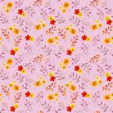 Seamless cute floral pattern with ditsy naive flowers, leaves. Watercolour painted art. Seamless cute floral pattern with ditsy naive flowers and leaves Stock Photography