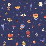 Seamless cute floral pattern-01. Seamless cute floral pattern.Vector hand-drawn texture Stock Images