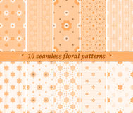 10 seamless cute floral patterns in orange colors Stock Photos