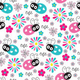 Seamless cute and flower ladybird pattern vector illustration Stock Photography