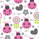 Seamless cute and flower ladybird pattern vector illustration Royalty Free Stock Photos