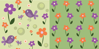 Seamless cute flowers and birds, set Stock Photos