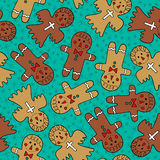 Seamless cute gingerbread pattern. Seamless cute christmas gingerbread pattern Stock Illustration