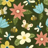 Seamless cute hand-draw bright pattern with flowers, butterfly, bee, dragonfly Stock Image
