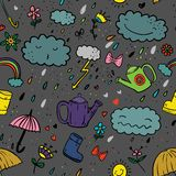 Seamless cute hand-draw cartoon style color pattern with umbrella, zipper, cloud, rubber boot, drop, bow, watering can, rainbow,f. Seamless cute hand-draw Stock Photo
