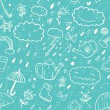 Seamless cute hand-draw cartoon style pattern with umbrella, zipper, cloud, rubber boot, drop, bow, watering can. Rainbow, flower, heart, sun in white contour Stock Photos