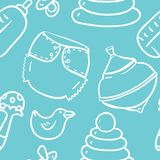 Seamless cute hand-draw contour pattern with toys for boy Stock Photo