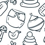 Seamless cute hand-draw contour pattern with toys Royalty Free Stock Photos