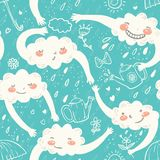 Seamless cute hand-drawn pattern with clouds. Watering can,flowers, bow, hearts and rainy dots in cartoon style on blue background. Vector children Royalty Free Stock Photo