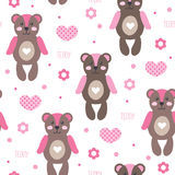 Seamless cute and happy bear teddy pattern vector illustration Royalty Free Stock Photo