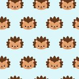 Seamless cute hedgehog animal pattern vector illustration stock illustration