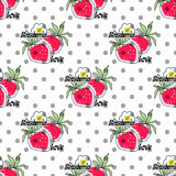 Seamless cute kids seamless pattern with strawberry Stock Photos