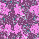 Seamless cute kitten cat background pattern in  pink and violet color. Vector Royalty Free Stock Image