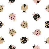 Seamless cute ladybug pattern. Vector baby print. Textile, fabric design vector illustration