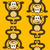 Seamless cute little monkey pattern Stock Image