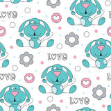 Seamless cute love dog pattern vector illustration Royalty Free Stock Photo