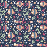 Seamless cute marine pattern with fish, seaweed, coral, starfish, seabed, algae, bubble Stock Photos