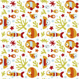 Seamless cute marine pattern with fish, seaweed, coral, starfish, seabed, algae, bubble Royalty Free Stock Image