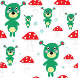 Seamless cute mutant - alien teddy with mushroom  Royalty Free Stock Images
