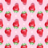 Seamless cute orderly background with strawberries. In watercolors Royalty Free Stock Photo