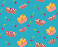 Seamless cute pastel color food pattern. Seamless pattern of food and vegetables in pastel colorful style Stock Photos
