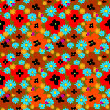 Seamless cute pattern with bright flowers and ladybirds Royalty Free Stock Photography