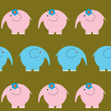 Seamless cute pattern with bright funny elephants Stock Photography