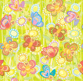 Seamless cute pattern of butterflies Royalty Free Stock Images
