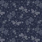 Seamless cute pattern butterflies. Monochrome Stock Images