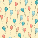 Seamless cute pattern with cartoon balloons. Of different bright colors on yellow background. Colorful Vector Illustration for Birthday cards or wrapping Royalty Free Stock Image