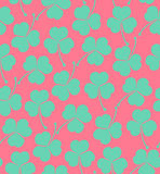 Seamless cute pattern with clover, trefoil  Endless background texture for wallpapers, packaging, textile, crafts. Scrapbook Royalty Free Stock Photo
