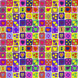 Seamless cute pattern with colored hearts Stock Image
