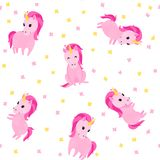 Seamless cute pattern with cute pink unicorns and flowers. Pretty hand drawn vector texture. Childish texture for fabric, textile Stock Illustration