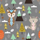 Seamless pattern with deer and raccoon in forest Scandinavian style - vector illustration, eps vector illustration