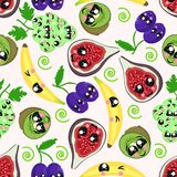 Seamless pattern with kiwi, banana, plum, grapes, figs - vector illustration, eps royalty free illustration