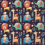 Seamless cute pattern elephants, lion,giraffe, birds, plants, jungle, flowers, hearts, leafs Royalty Free Stock Photos