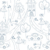 Seamless cute pattern with girl at the street Stock Photography