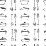 Seamless cute pattern with kitchen items. Stock Images