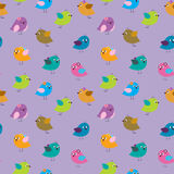 Seamless cute pattern with little cartoon birds Royalty Free Stock Photos
