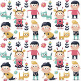 Seamless cute pattern made with cats, kids, children, toys, flowers, traces, babies Stock Photos