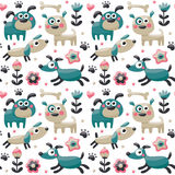 Seamless cute pattern made with dog, birds, flowers, paw, trace, plants, berries royalty free illustration
